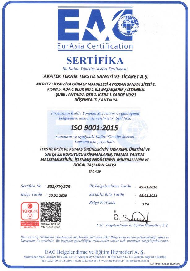 ISO 9001:2015 Belgemiz